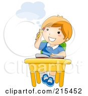 Royalty Free RF Clipart Illustration Of A Little School Boy Thinking At His Desk