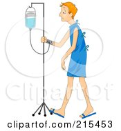 Royalty Free RF Clipart Illustration Of A Sick Man Walking With An IV