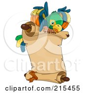 Royalty Free RF Clipart Illustration Of A Pirate Parrot Flying A Parchment Scroll by BNP Design Studio