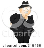 Royalty Free RF Clipart Illustration Of A Senior Businessman Touching His Chin In Thought