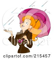 Royalty Free RF Clipart Illustration Of A Happy Woman Under An Umbrella Holding Her Hand Out In The Rain by BNP Design Studio