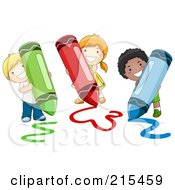 Royalty Free RF Clipart Illustration Of Diverse School Kids Coloring With Crayons