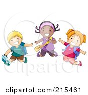 Royalty Free RF Clipart Illustration Of Diverse School Kids Jumping