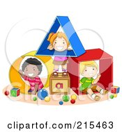 Royalty Free RF Clipart Illustration Of Diverse School Kids Playing With Shapes