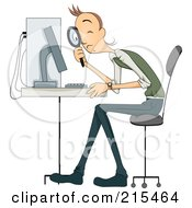 Royalty Free RF Clipart Illustration Of A Man Trying To Diagnose A Computer Problem With A Magnifying Glass