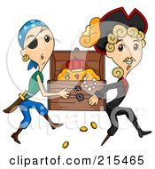Royalty Free RF Clipart Illustration Of Two Pirates Stealing A Treasure Chest by BNP Design Studio