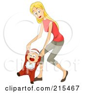 Royalty Free RF Clipart Illustration Of A Young Mother Helping Her Baby Walk