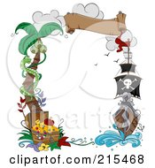 Royalty Free RF Clipart Illustration Of A Border Of A Palm Tree Snake Treasure Chest Banner And Pirate Ship by BNP Design Studio