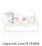 Royalty Free RF Clipart Illustration Of A Blank Box With A Colorful Floral Vine by BNP Design Studio