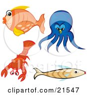 Clipart Illustration Of A Collection Of Sea Creatures Orange Goldfish Blue Octopus Red Lobster And Brown Fish On A White Background