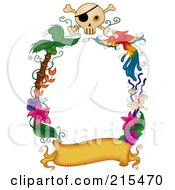 Royalty Free RF Clipart Illustration Of A Border Of A Blank Banner With Palm Trees Flowers A Parrot And Skull
