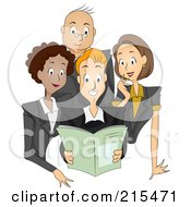 Royalty Free RF Clipart Illustration Of A Group Of Publishers Reading A Magazine Together by BNP Design Studio