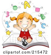 Royalty Free RF Clipart Illustration Of A Little School Girl Sitting On A Book With Shapes Letters And Numbers Flying Above by BNP Design Studio