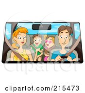 Royalty Free RF Clipart Illustration Of A Happy Family Driving In Their Car