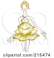 Royalty Free RF Clipart Illustration Of A Sketched Woman Modeling A Yellow Maternity Dress