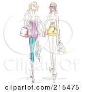 Royalty Free RF Clipart Illustration Of Two Sketched Women Walking And Shopping