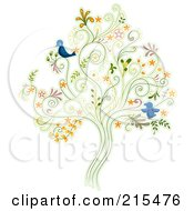 Royalty Free RF Clipart Illustration Of A Floral Swirl Tree With Two Blue Birds by BNP Design Studio