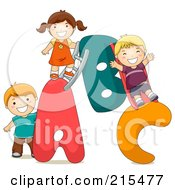 Royalty Free RF Clipart Illustration Of A Group Of Kids Playing On An ABC Playground