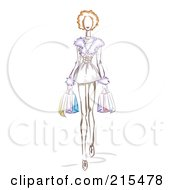 Royalty Free RF Clipart Illustration Of A Sketched Woman Wearing A Furry Dress And Carrying Shopping Bags