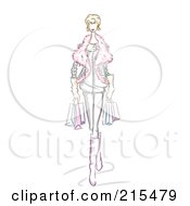 Royalty Free RF Clipart Illustration Of A Sketched Woman Wearing A Furry Jacket And Carrying Shopping Bags