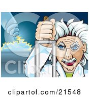 Crazy Caucasian Male Scientist With White Hair Pulling An Electric Lever While Shocking And Torturing A Person In The Background