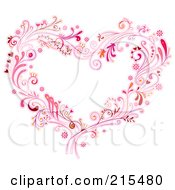 Royalty Free RF Clipart Illustration Of A Floral Heart Made Of Pink Vines And Swirls