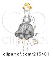 Sketched Woman Modeling A Black Maternity Dress