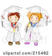 Royalty Free RF Clipart Illustration Of A Graduating Boy And Girl In White Caps And Gowns