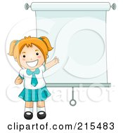 Royalty Free RF Clipart Illustration Of A Little School Girl By A Presentation Screen