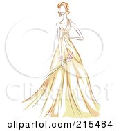 Royalty Free RF Clipart Illustration Of A Sketched Woman Modeling A Beautiful Yellow Gown by BNP Design Studio