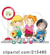 Royalty Free RF Clipart Illustration Of Diverse School Kids Waiting At A Bus Stop by BNP Design Studio