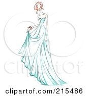 Royalty Free RF Clipart Illustration Of A Sketched Woman Modeling A Beautiful Blue Gown