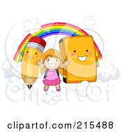 Royalty Free RF Clipart Illustration Of A Little School Girl On Clouds With A Rainbow Pencil And Book by BNP Design Studio