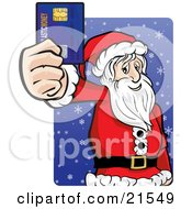 Santa Claus In His Red And White Uniform Holding Out His Credit Card While Racking Up His Debt And Christmas Shopping