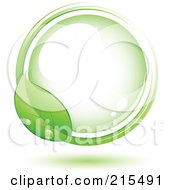 Royalty Free RF Clipart Illustration Of A Green Leaf Wet With Dew Circling Around A Green Orb