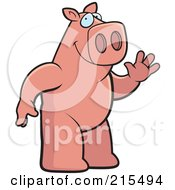 Royalty Free RF Clipart Illustration Of A Friendly Pig Standing On His Hind Legs And Waving by Cory Thoman