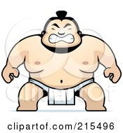 Royalty Free RF Clipart Illustration Of A Sumo Guy Crouching by Cory Thoman #COLLC215496-0121