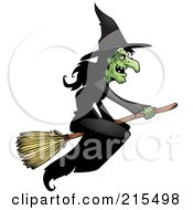 Royalty Free RF Clipart Illustration Of A Wicked Witch In A Black Dress Flying On A Broom Stick by Cory Thoman