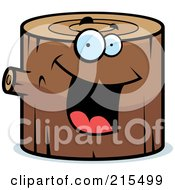 Royalty Free RF Clipart Illustration Of A Happy Smiling Log Character by Cory Thoman
