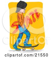 Clipart Illustration Of A Caucasian Man In Blue Jeans Skateboarding Past A Yellow Wall Whiel In Thought