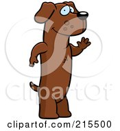 Royalty Free RF Clipart Illustration Of A Friendly Daschund Standing On His Hind Legs And Waving by Cory Thoman