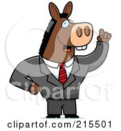 Royalty Free RF Clipart Illustration Of A Talking Donkey In A Suit by Cory Thoman