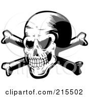 Royalty Free RF Clipart Illustration Of A Black And White Spooky Skull And Crossbones