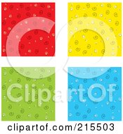 Digital Collage Of Four Colorful Backgrounds With Swirl Patterns