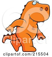 Royalty Free RF Clipart Illustration Of A T Rex Walking Upright by Cory Thoman