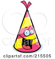 Royalty Free RF Clipart Illustration Of A Happy Smiling Party Hat Character by Cory Thoman