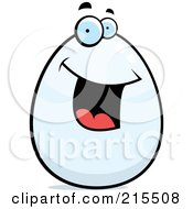 Royalty Free RF Clipart Illustration Of A Happy Smiling Egg Character by Cory Thoman