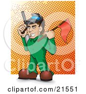 Clipart Illustration Of A Mischievous Caucasian Man In A Green Suit Holding A Red Flag And A Paintball Gun During A Game