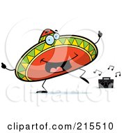 Royalty Free RF Clipart Illustration Of A Happy Dancing Sombrero Character by Cory Thoman