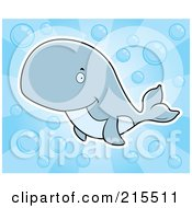 Royalty Free RF Clipart Illustration Of A Cute Blue Whale Swimming Through Bubbles by Cory Thoman